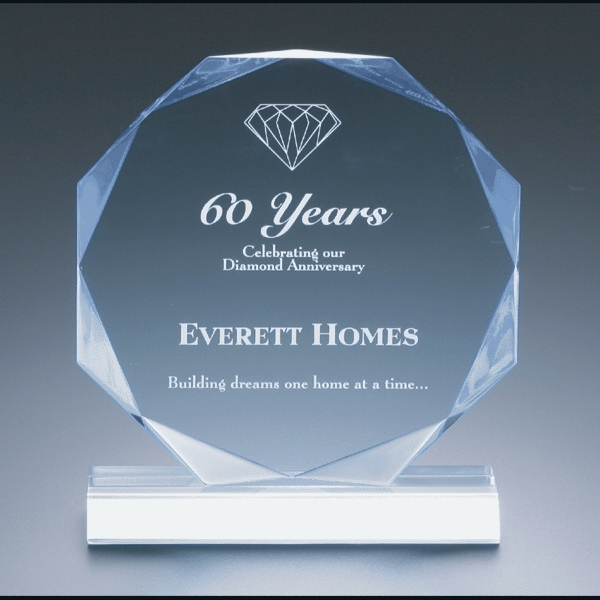 "Executive Series - Blank Goods. Clear Acrylic Multi-faceted Octagon Shape Award, 6""dia. X 3/4"" Photo"