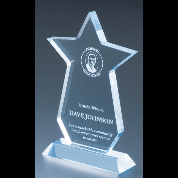 "Executive Series - Blank Goods. Acrylic Executive Star Award, 6"" X 8 1/2"" X 3/4"" Photo"