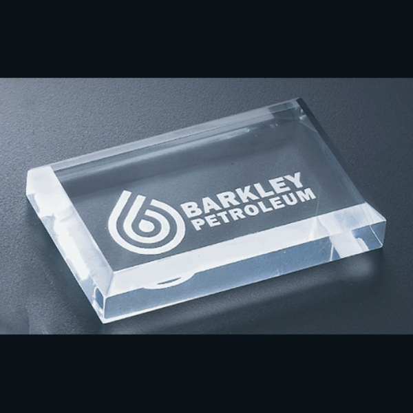 "Executive Series - Blank Goods. Acrylic Rectangular Paperweight With Bevel On Top, 4"" X 2 1/2"" X 3/4"" Photo"