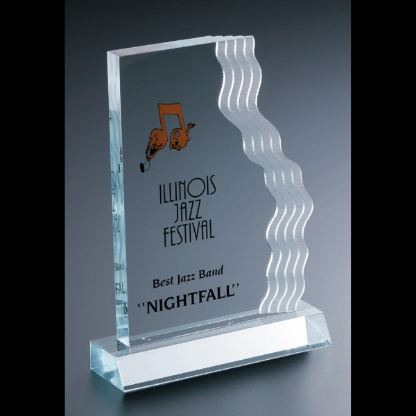Executive Series - Blank Goods. Acrylic Executive Vertical Waterfall Award With Frosted Waves At Right Photo