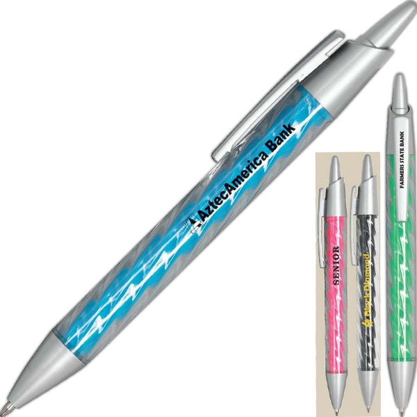 Aurora - Fun Spiral Designed Barrel Medium Point Pen With Matte Silver Accents Photo