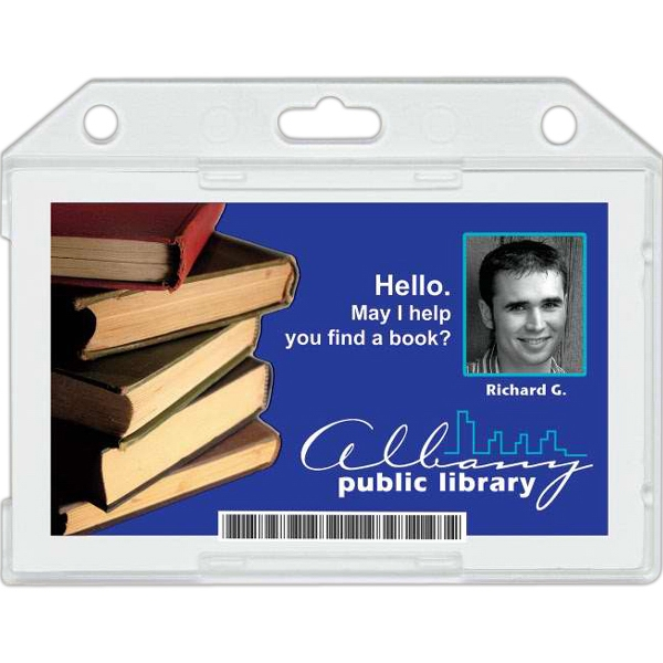 "Plastic Single Card Id Holder With Horizontal Load. Insert Size: 3 3/8"" X 2 1/8"" Photo"