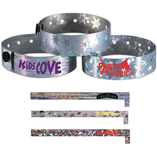 Metallic Wristband With Holographic Designs On Shiny Silver Tri-laminated Material Photo