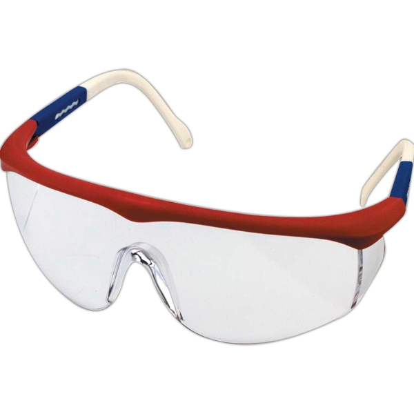 Hero - Safety Glasses With Red, White And Blue Frame And Clear Uv Lenses Photo
