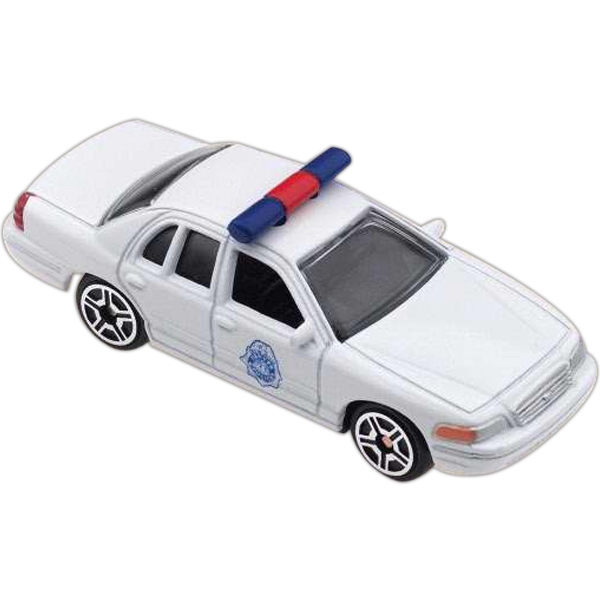 Car With 3 Day Rush Service - Die Cast White Police Car Replica, Scale Size 1:64 Photo