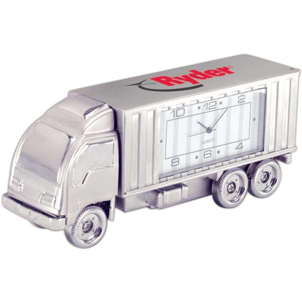 Silver Die Cast Semi Truck Replica Desk Clock Photo