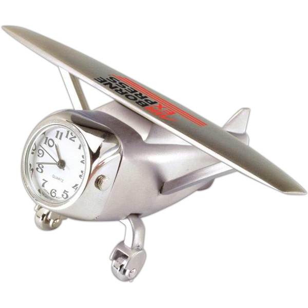 Silver Die Cast Airplane Replica Desk Clock Photo