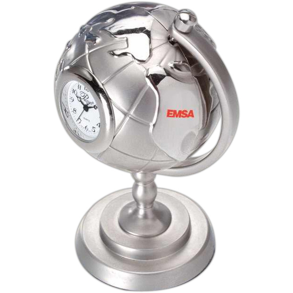 Silver Die Cast Globe And Stand Replica Desk Clock Photo