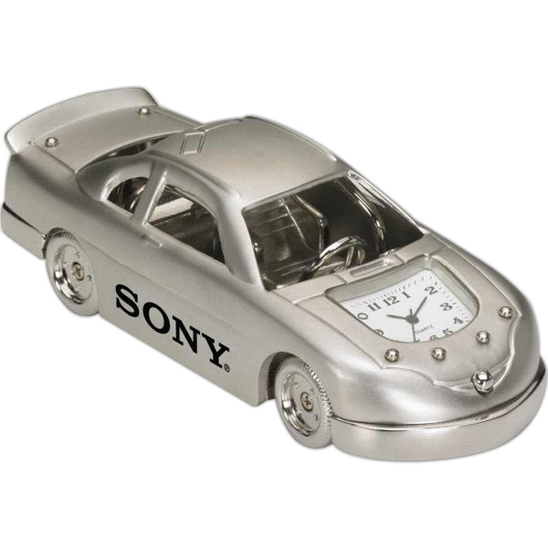 Silver Die Cast Race Car Shape Desk Clock Photo