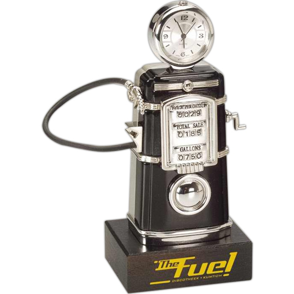 Black Die Cast Fuel Pump Desk Clock With Silver Trim On Wood Base Photo