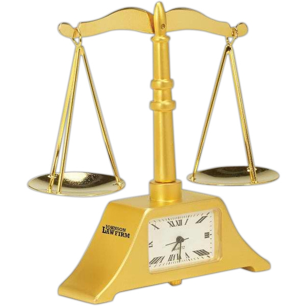 Gold Die Cast Scales Of Justice Replica Desk Clock Photo