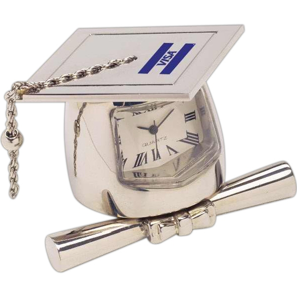 Silver Die Cast Graduate Mortarboard And Diploma Replica Desk Clock Photo