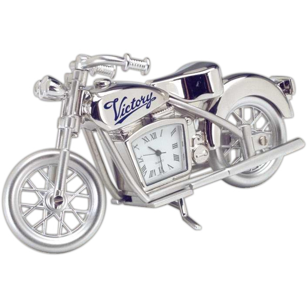 Silver Die Cast Motorcycle Replica Desk Clock Photo