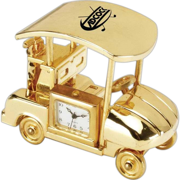 Gold Die Cast Golf Cart Replica Desk Clock Photo