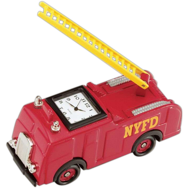 Red Die Cast Fire Engine Replica Desk Clock Photo