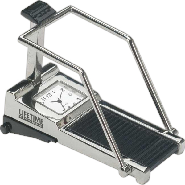 Silver Die Cast Metal Treadmill Replica Desk Clock Photo