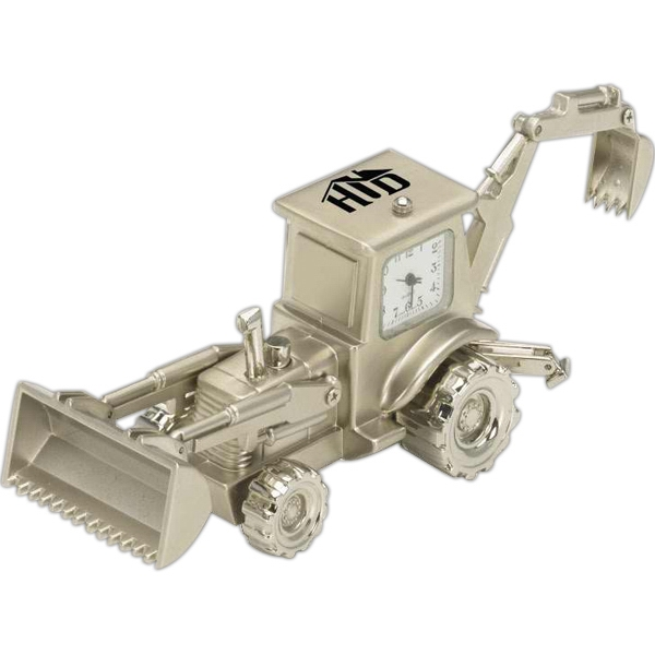 Silver Metal Replica Backhoe Desk Clock Photo