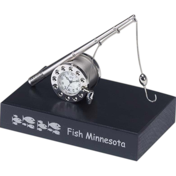 Metal Fishing Reel And Rod Replica Desk Clock On Black Base Photo