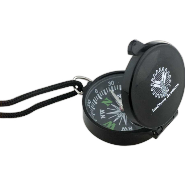 "Black Flip-top Cover Compass With 34"" Cord And Molded Plastic Case Photo"