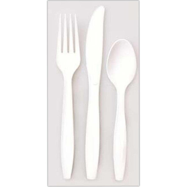 "500 Line - 10 Working Days - White Plastic Four Prong Fork, 5.75"" Long Photo"