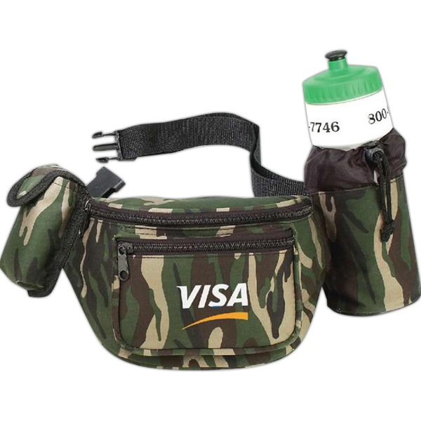 Camouflage - Polyester 600 Denier Fanny Pack With Bottle Holder And Cellular Phone Pouch Photo