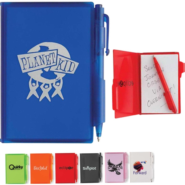 Composition - Jotter Pad With Translucent Colored Cover And Matching Mini Pen Photo