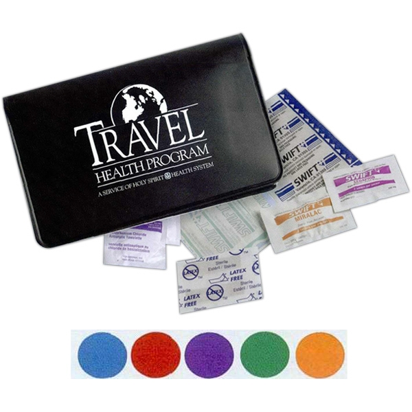 First Aid Kit For Travel Use. Includes Bandages, Adhesive Pad And More Photo