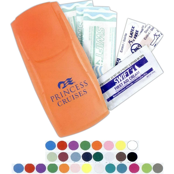 Instant Care Kit(tm) - First Aid Kit In A Trim, Reusable Plastic Case With Bandages And Cream Packet Photo
