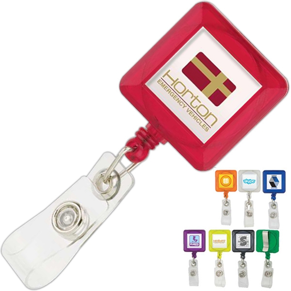 Square Plastic Retractable Badge Holder With Standard Clip Photo
