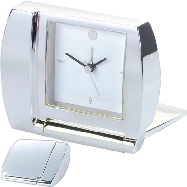 Folding Alarm Desk Clock, Silver