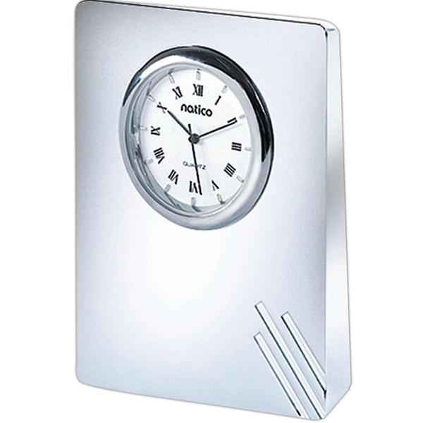 Contempo Desk Clock, Silver