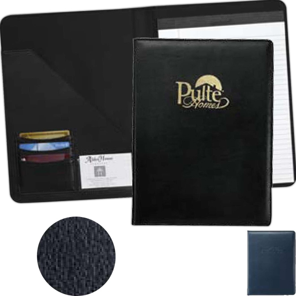 Milan - Blue - B - Simulated Leather Pad Folder With Large Interior Pocket Photo