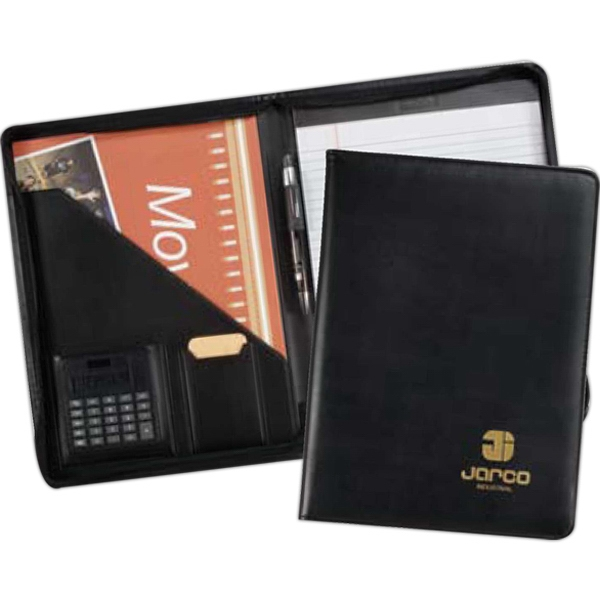 Milan - Desk Folder, Zippered With Calculator And Large Interior Folder Photo