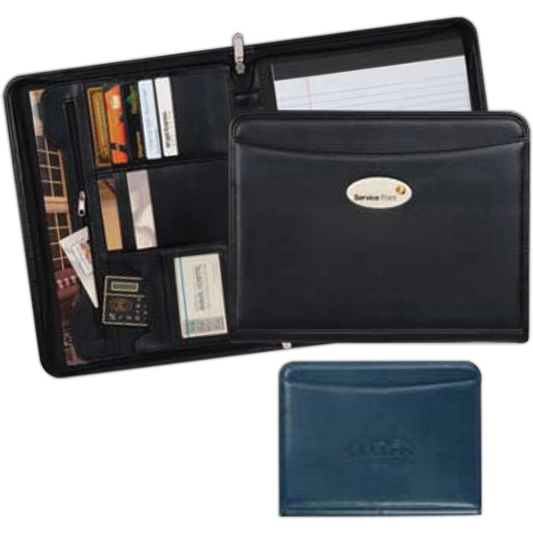 Milan - Zippered Simulated Leather Padfolio With A Soft Touch Calculator Photo