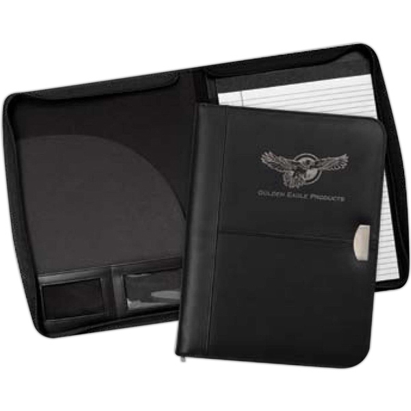Achiever - Black Bonded Leather Zippered Padfolio With Silver Metal Accent Photo