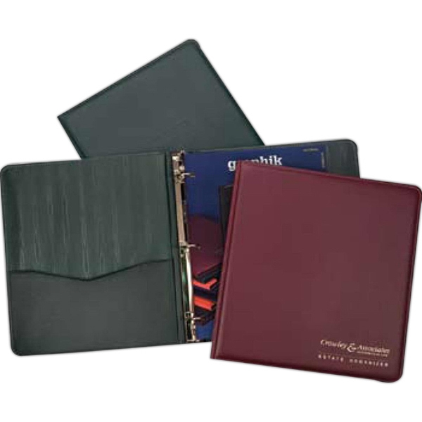 Newport - Simulated Leather Binder With Color-coordinated Moire Lining And Rings Photo