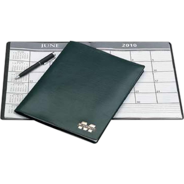 "Classic - Prairie - Premium Simulated Leather With A Matte Finish - Monthly Desk Planner With 9"" Ruler, Area Code And Time Zone Maps Photo"