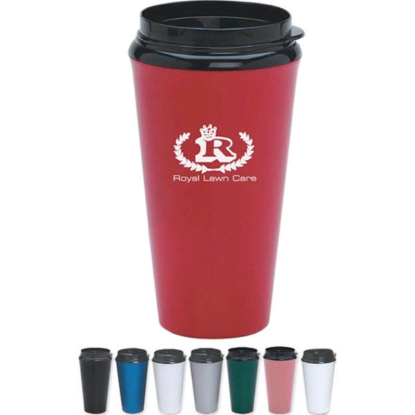 Infinity - Plastic Insulated Double Wall Tumbler, 16 Oz., With Plastic Sip Through Lid Photo