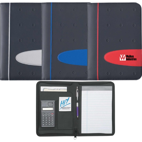 Eclipse - Zippered Portfolio With Calculator, Includes 30 Page Writing Pad Photo