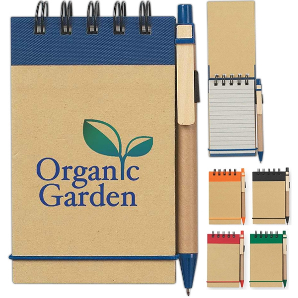 Hitgreen (tm) - Eco-friendly Spiral Jotter And Pen With Elastic Pen Loop And Elastic Band Closure Photo