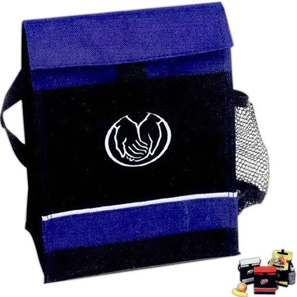 Malibu - Lunch Bag, 600 Denier Polyester, Fold Over Design, Side Mesh Beverage Pocket Photo