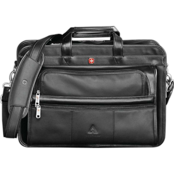 Wenger (r) - Black Leather Double Compartment Attache Photo