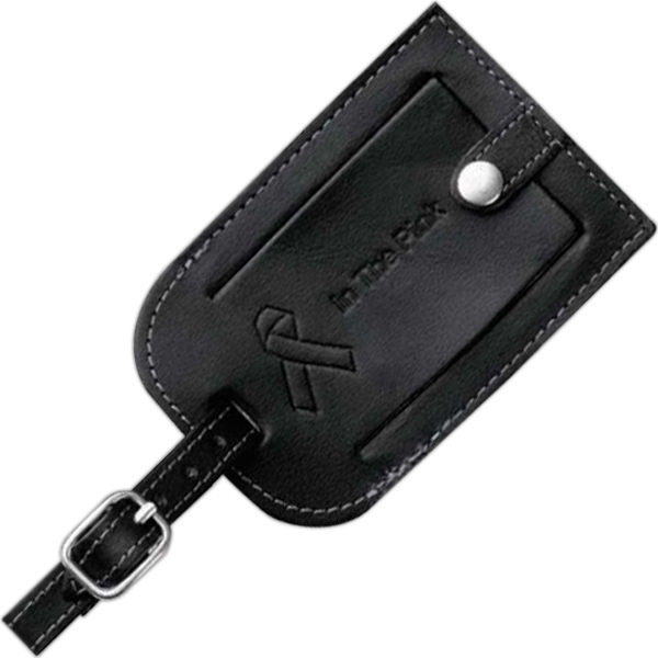 Black Genuine Top Grain Leather Identification Tag With An Adjustable Metal Buckle Photo