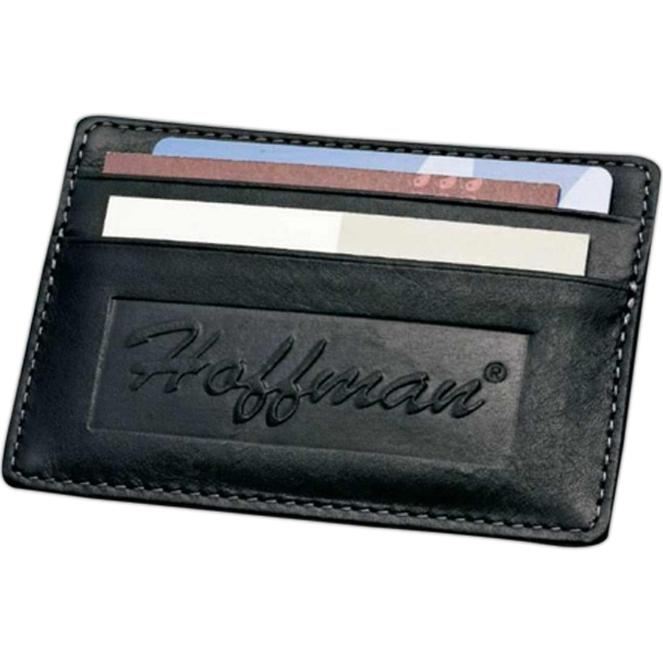 Black Genuine Top Grain Leather Card Wallet With Two Pockets And Slim Design Photo