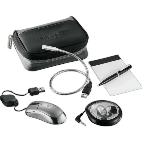 Airline Travel Technology Set With A Case, Mini Wired Mouse, Jotter Pad And More Photo
