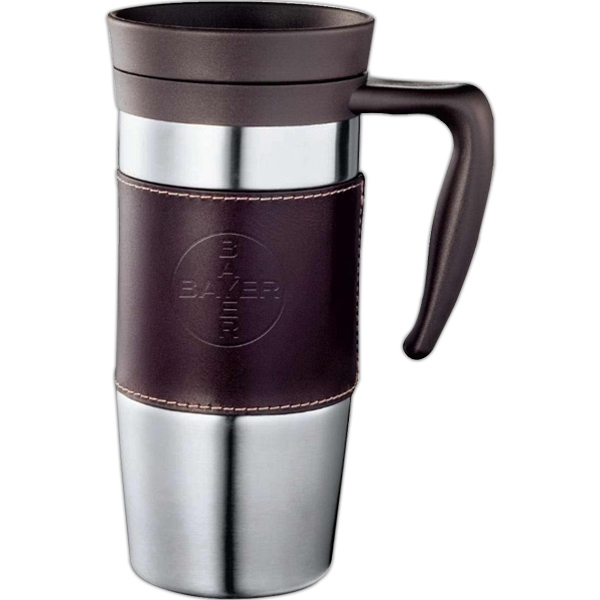 Cutter & Buck (r) - Stainless Steel Mug With Stainless Steel Liner And Removable Leather Wrap, 14 Oz Photo
