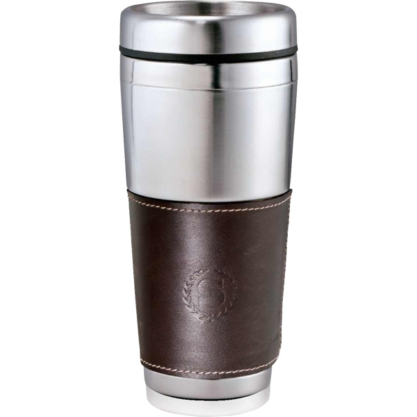 Cutter & Buck (r) - Stainless Steel Tumbler. Stainless Steel Liner And Removable Leather Wrap, 16 Oz Photo