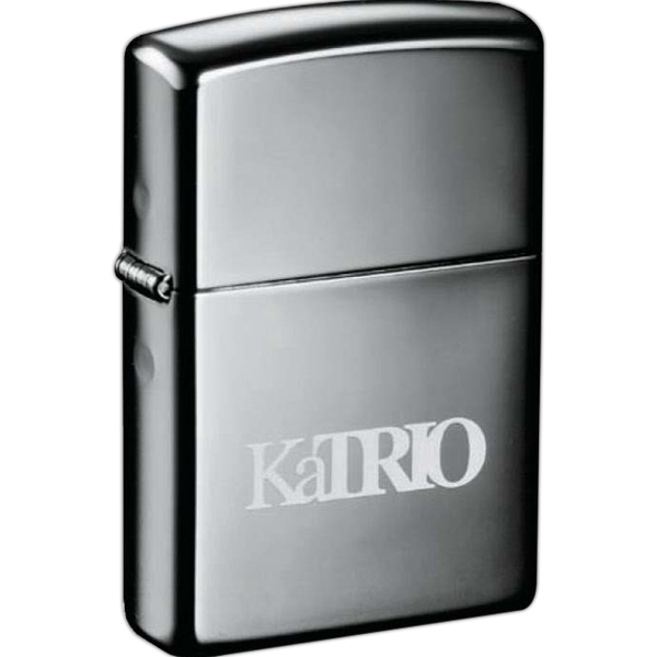 Zippo (r) - Black Brass Windproof Lighter With A Sturdy Nickel Hinge, Black Ice Photo