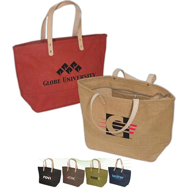 Hamptons - Laminated Natural Jute Fabric Tote Bag Photo
