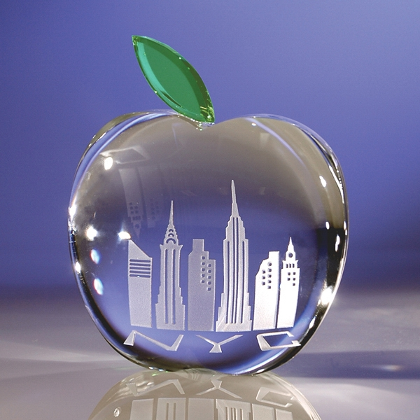 Apple & Leaf - Handcrafted And Polished Apple And Leaf Optical Crystal Paperweight Photo
